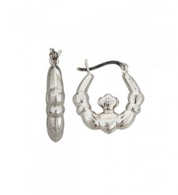 Sterling Silver Polished Claddagh Hoop