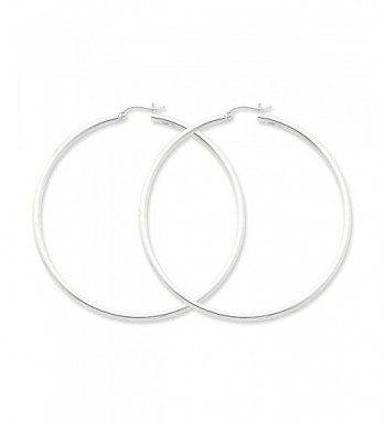 Sterling Silver Rhodium Plated 2 50mm Earrings