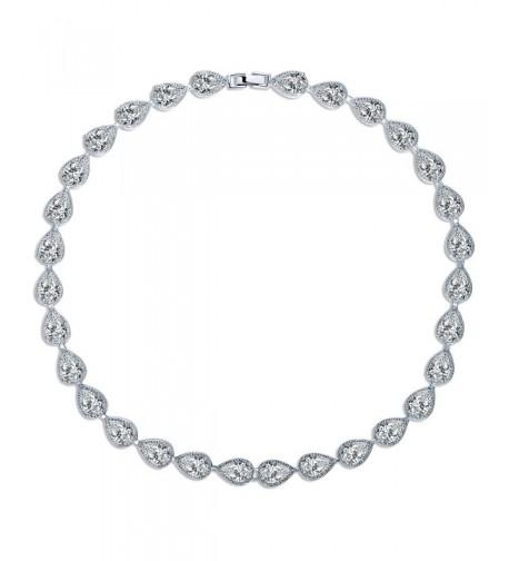 MASOP Silver tone Zirconia Teardrop Necklace