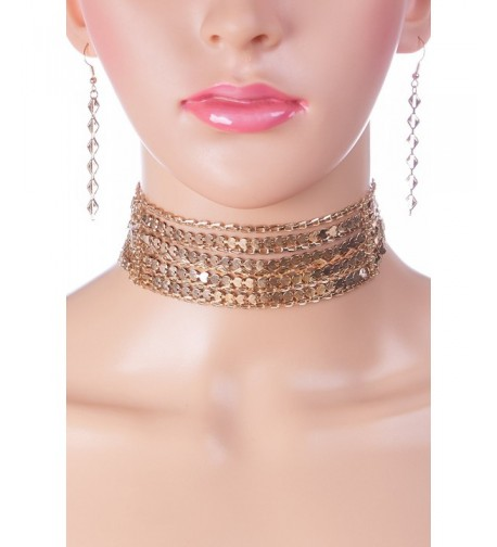 Kaylee Multi Chain Choker Necklace Earings
