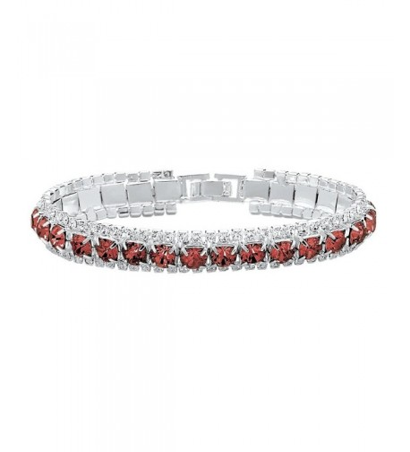 Simulated Birthstone Accent Silvertone Bracelet