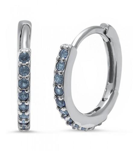 Eternity Earrings Simulated Blue Aquamarine