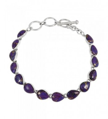 Turquoise Bracelet Sterling Genuine Teardrops