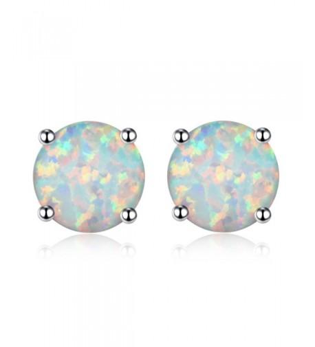 White Created Earrings Round Women