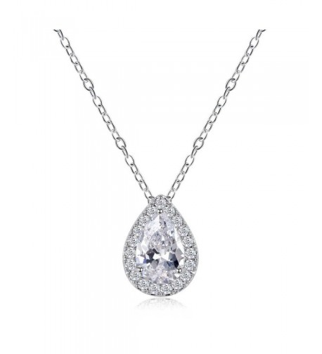 Odette Micro Pave Pear Shaped Solitaire Necklace