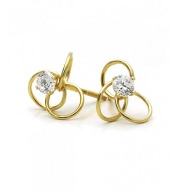 Yellow Zirconia Celtic Screwback Earrings
