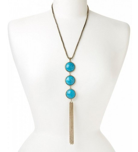 Lux Accessories Synthetic Turquoise Necklace