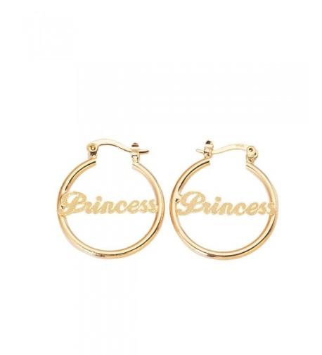 Gold Earrings Alphabet Nameplate Princess