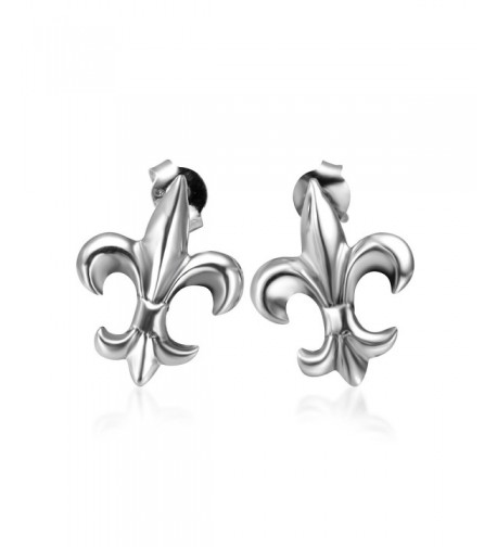 Sterling Silver Fleur Symbol Earrings