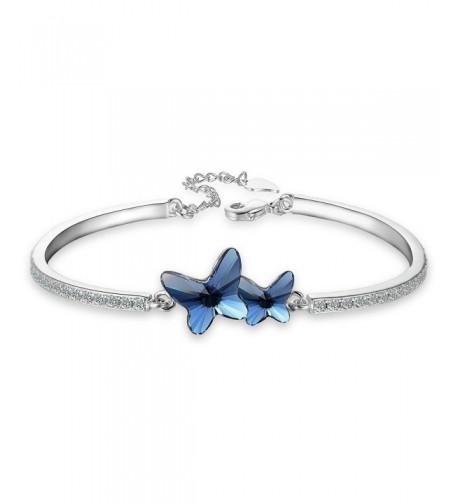 EleQueen Silver tone Butterfly Bracelet Swarovski