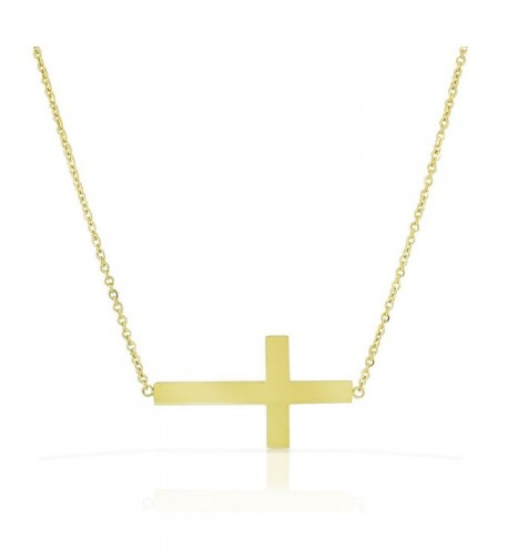 Stainless Gold tone Sideways Pendant Necklace