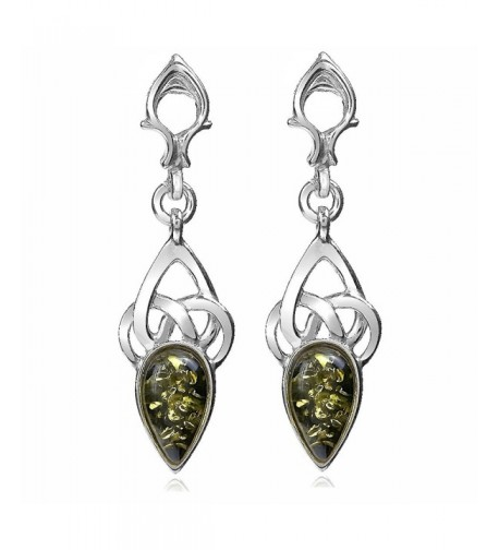 Green Sterling Silver Celtic Earrings