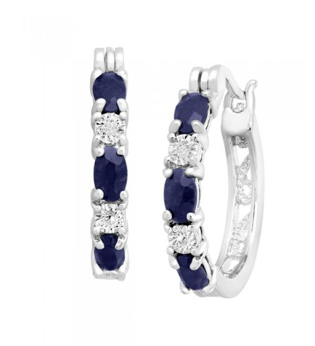 Platinum Plated Natural Sapphire Earrings Diamonds