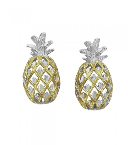 Sterling Silver Accents Pineapple Earrings