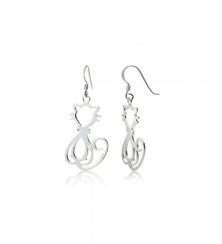 Sterling Silver Cat Polished Earrings