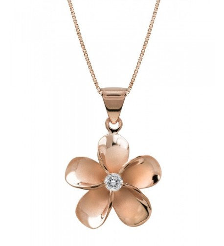 Plated Sterling Plumeria Necklace Pendant
