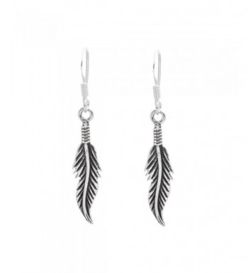 Silverly Sterling Feather Oxidized Earrings