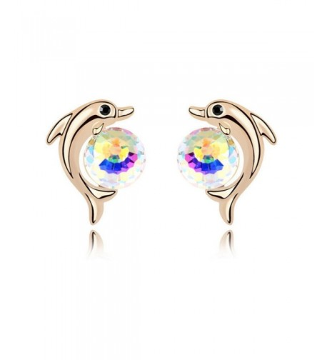 Animal Dolphin Plated Earring Colorful