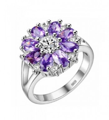 Uloveido Flowers Statement Jewelry J676 Silver Purple 8