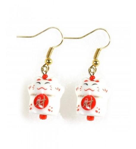 Little Maneki Beckoning Porcelain Earrings