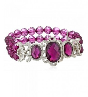 1928 Jewelry Filigree Silver Tone Amethyst