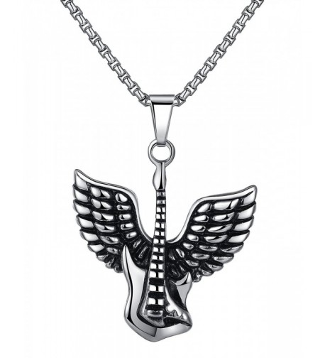 Stainless Guitar Pendant Necklace Unisex