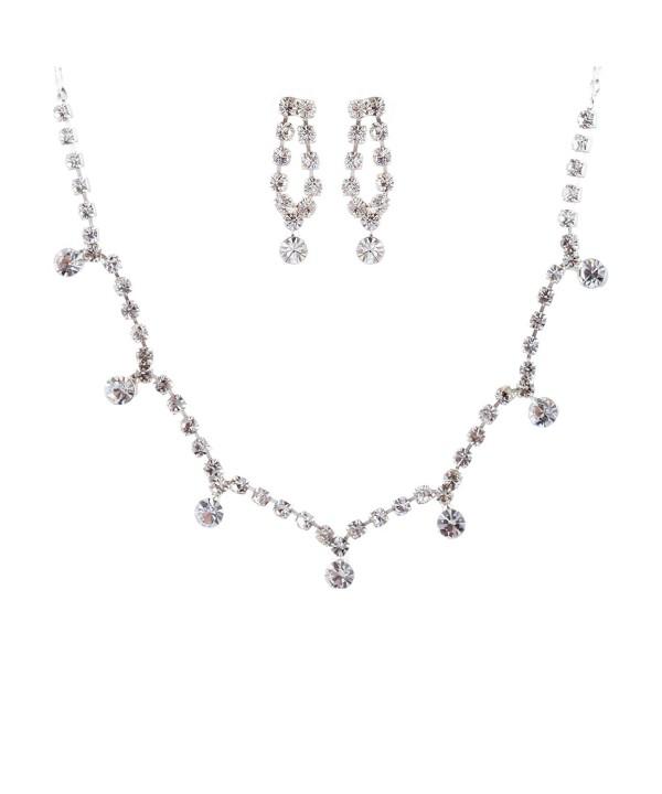 ACCESSORIESFOREVER Wedding Jewelry Rhinestone Necklace