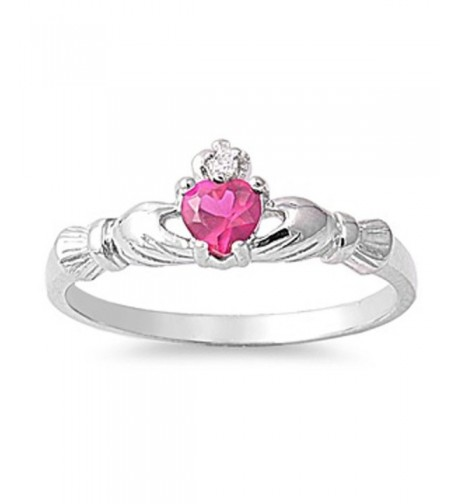 Sterling Silver Claddagh Simulated Traditional