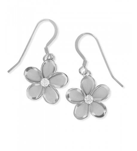Rhodium Sterling Silver Plumeria Earrings