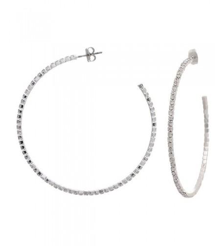 Silvertone Crystal Thin Hoop Earrings