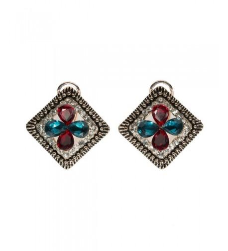 Goldtone Earrings Rhinestone Red Victorian