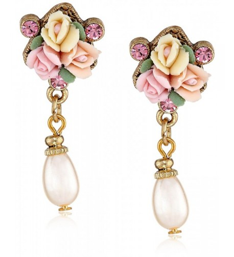 1928 Jewelry Gold Tone Porcelain Simulated