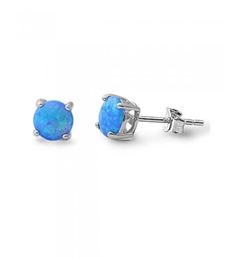 Solitaire Earring Created Blue Sterling