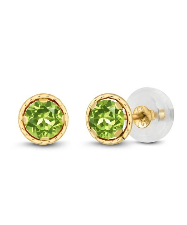 Round Green Peridot Yellow Earrings