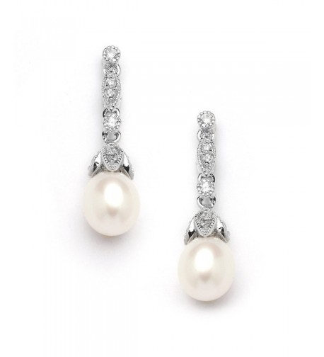 Mariell Genuine Freshwater Pearl Earrings