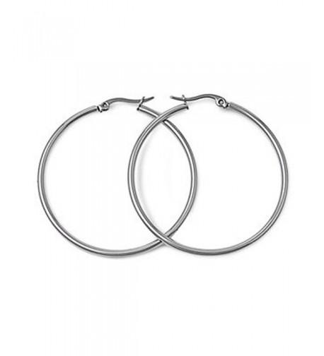 Polished Stainless Steel Hoop Earrings