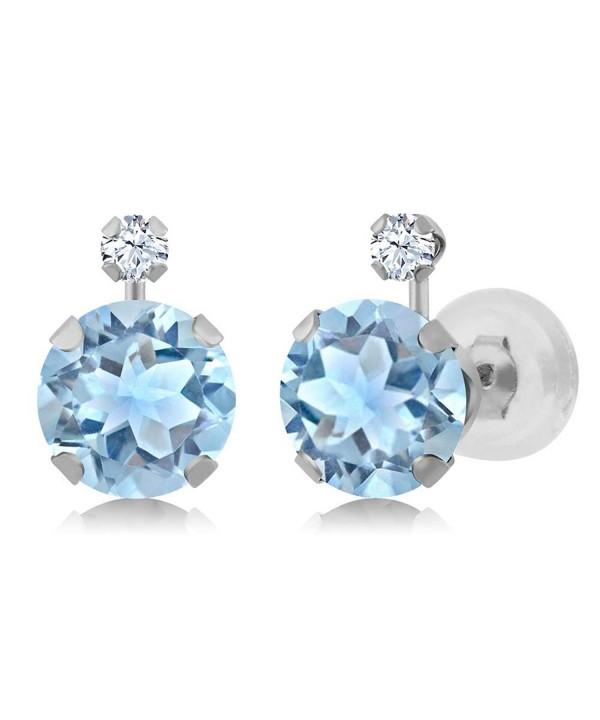 Round Topaz Created Sapphire Earrings