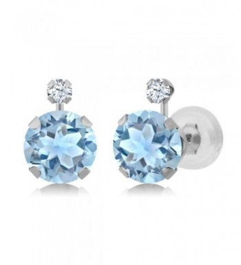 Round Topaz Created Sapphire Earrings
