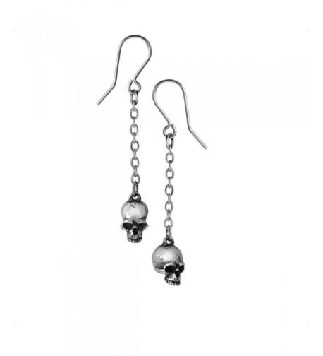 Pewter Deadskull Dangle Chain Earrings