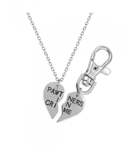 Lux Accessories Partners Necklace Keychain