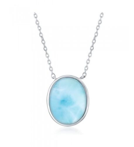 Sterling Silver Natural Larimar Necklace