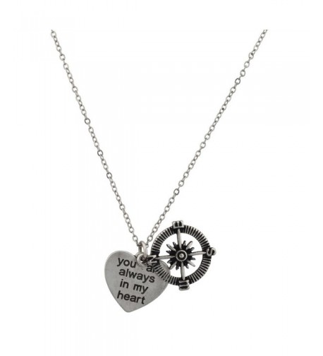 Lux Accessories Compass Pendant Necklace