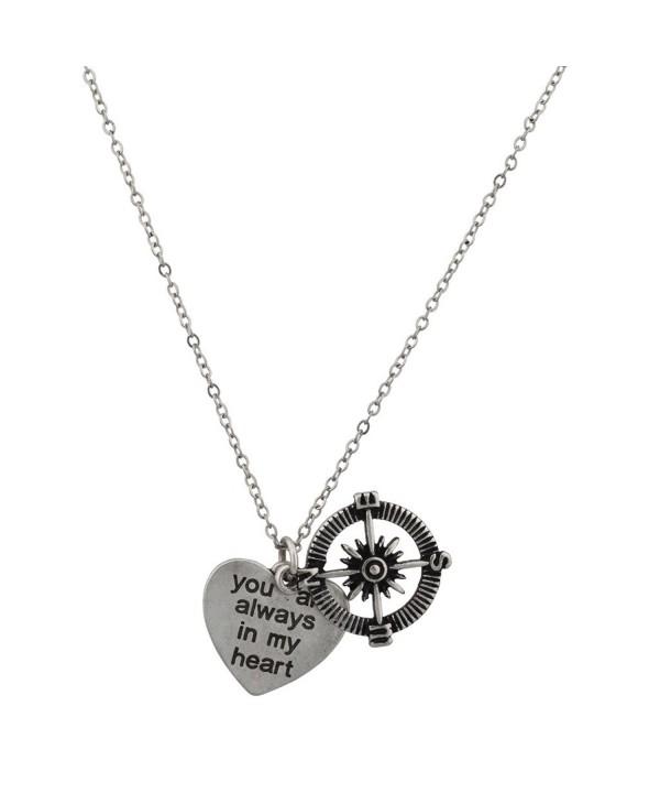 Lux Accessories Compass Pendant Necklace