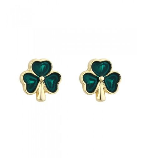 Shamrock Earrings Plated Studs Enamel