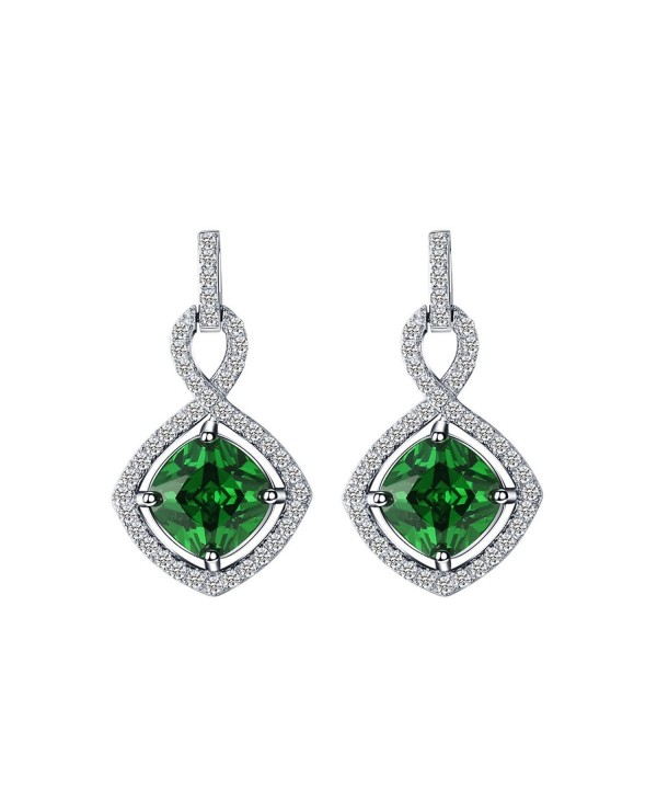 925 Sterling Silver Cushion Cut Created Emerald Infinity Dangle Earrings For Women Cd12mactzth