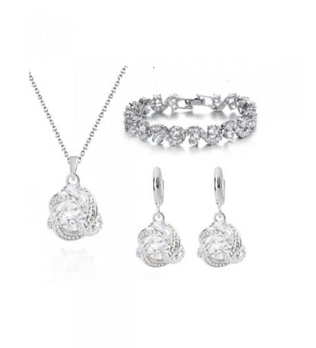 Zirconia Crystals Necklace Earrings Bracelet