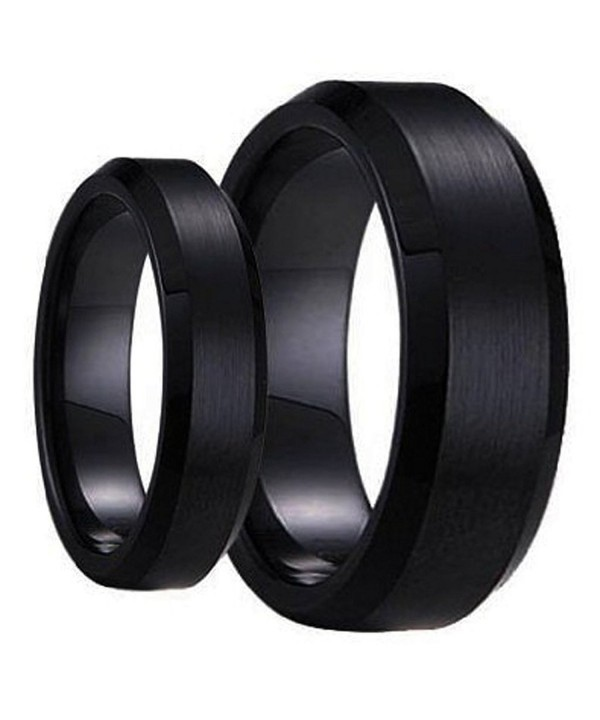 His & Her's Matching Set 6mm / 8mm Black Brushed Center Beveled Edge  Tungsten Carbide Wedding Band Set CW11C3B4ROB