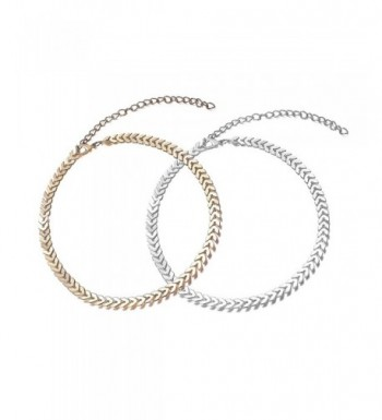 Adjustable Chevron Glitter Choker Necklace