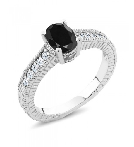 Black Sapphire Sterling Silver Engagement