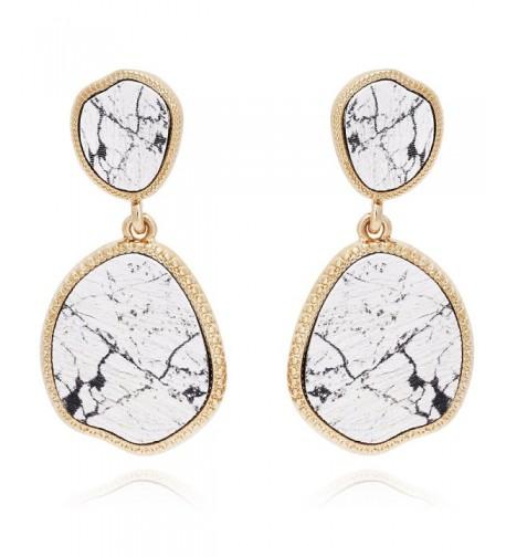 BONALUNA Bohemian Marble Statement Earrings